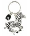 Metalen zebra sleutelhanger 5 cm