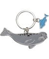 Metalen zeehond sleutelhanger 5 cm
