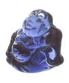 Mini blauw happy boeddha beeldje 3 cm