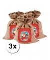 Mini sinterklaas zakken van jute 3 stuks 25 cm