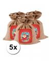 Mini sinterklaas zakken van jute 5 stuks 25 cm