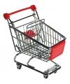 Mini winkelwagentje rood 14 cm