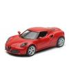 Modelauto alfa romeo 4c rood 1 32