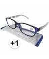 Modieuze leesbril 1 blauw met zilver