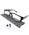 Modieuze leesbril 1 zigzag zwart wit