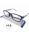 Modieuze leesbril 1 5 blauw met zilver