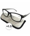 Modieuze leesbril 1 5 zwart wit gestreept