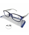 Modieuze leesbril 1 75 blauw met zilver