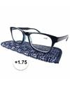 Modieuze leesbril 1 75 donkerblauw