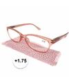 Modieuze leesbril 1 75 glitter roze