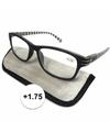 Modieuze leesbril 1 75 zwart wit gestreept