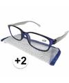 Modieuze leesbril 2 blauw met zilver