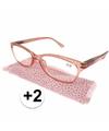 Modieuze leesbril 2 glitter roze