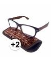 Modieuze leesbril 2 in panterprint