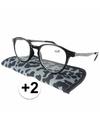 Modieuze leesbril 2 panterprint grijs