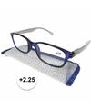 Modieuze leesbril 2 25 blauw met zilver