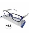 Modieuze leesbril 2 5 blauw met zilver
