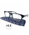 Modieuze leesbril 2 5 donkerblauw