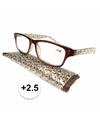 Modieuze leesbril 2 5 fantasy bruin