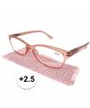 Modieuze leesbril 2 5 glitter roze