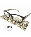 Modieuze leesbril 2 5 in tijgerprint