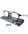 Modieuze leesbril 2 5 panterprint grijs