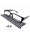 Modieuze leesbril 2 5 zigzag zwart wit