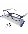Modieuze leesbril 3 blauw met zilver