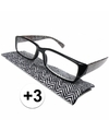 Modieuze leesbril 3 zigzag zwart wit