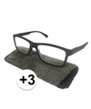 Modieuze leesbril 3 zwart met stippen