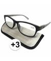 Modieuze leesbril 3 zwart wit gestreept