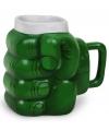 Mok groene superheld vuist