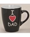 Mok i love dad zwart 10 cm