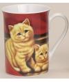 Mok met katten rood 10 cm