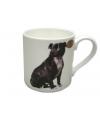 Mok zwarte staffordshire bull terrier hond
