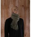 Mosgroene fleece sjaal met franjes