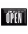 Muurplaatje yes we are open