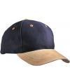 Navy blauw 6 panel cap met suede look