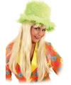 Neon groene pluche hoed