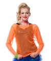 Neon oranje netshirt voor dames