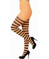 Neon panty gestreept zwart oranje