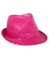 Neon roze trilby hoed met pailletten