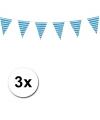 Oktoberfest 3x plastic beieren vlaggenlijn 10 meter