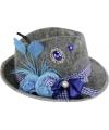 Oktoberfest grijze tiroler hoed met blauwe veer