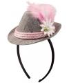 Oktoberfest tiara met tiroler hoedje roze