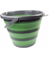 Opvouwbare emmer groen zwart 10 liter