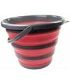 Opvouwbare emmer rood zwart 10 liter