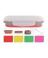 Opvouwbare lunchbox met vork lepel roze