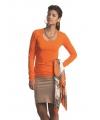 Oranje damesshirt lange mouw