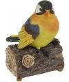 Oranje geel decoratie vogeltje met geluid